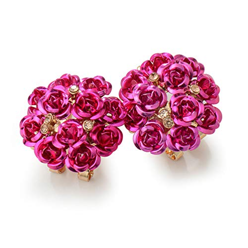 (Stud Earrings - Cluster of Roses in metallic color in a Presentation Box Contemporary Trendy Earrings for Women Jewelry (Deep Pink))