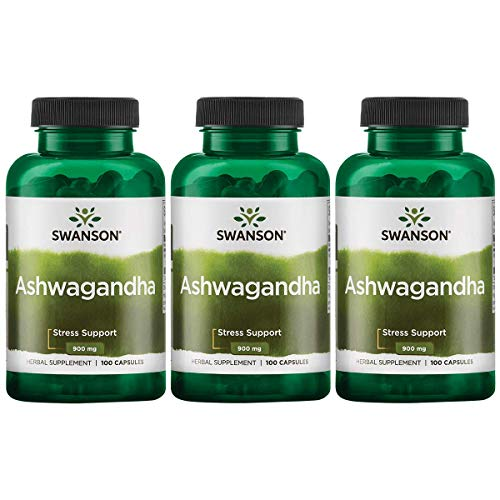 Swanson Premium Ashwagandha Powder Supplement: 450 MG Ashwagandha Root Dried Powder - Pure Ashwagandha Supplements for Stress Relief and Energy Support - 100 Gelatin Capsules (3 Pack)