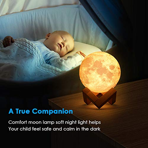 Moon Lamp, 3D Moon Light, Warm and Cool White, Stepless Dimmable Touch Control, Home Night Light with USB Charging, PLA Material, Birthday Party Gifts