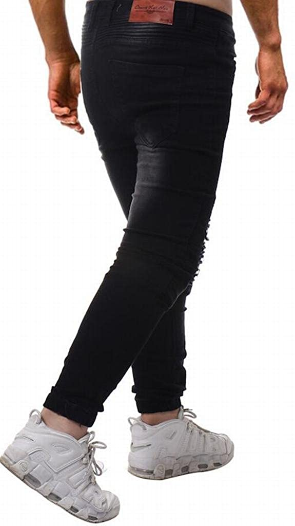 SHOWNO-Men Comfy Fit Washed Pleated Ripped Hole Denim Pants Skinny Jeans