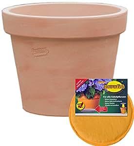 Bajo Juego: Macetero inclusive FlowerPad profesional drenaje Macetero a las heladas redonda Ø 40x 32cm, color terracota, forma 115.040.53para interior y exterior–Calidad de hentschke cerámica