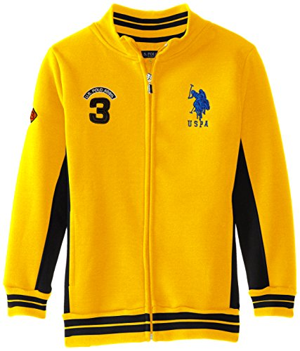 - U.S. Polo Assn. Big Boys' Fleece Mock Neck Jacket with Striped Ribbing, Egg Yoke, 10/12