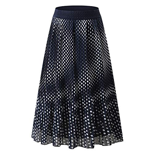 NAMETSHE Women's Chiffon High Waist Pleated Skirt A-line Maxi Skirts (X-Large, Navy Floral) ()