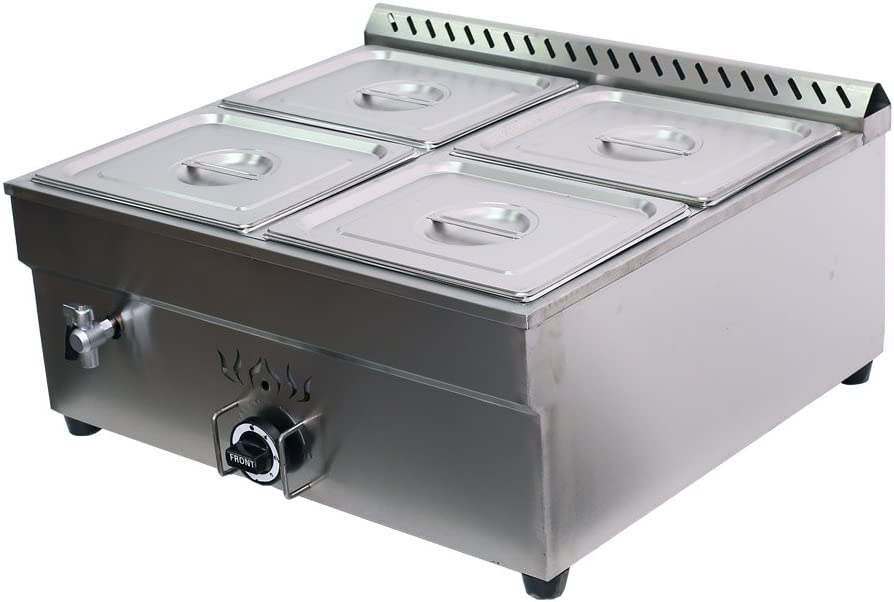 INTBUYING Propane Gas Food Soup Warmer Stove Bain Marie Commercial Canteen Buffet Steam Heater Stainless Steel 12''x8.7''x4''Pan -4 pans(Square)