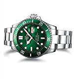 PASOY Men Automatic Mechanical Luminous Dial Green Rotatable Bezel Sapphire Glass Steel Week Day Watches