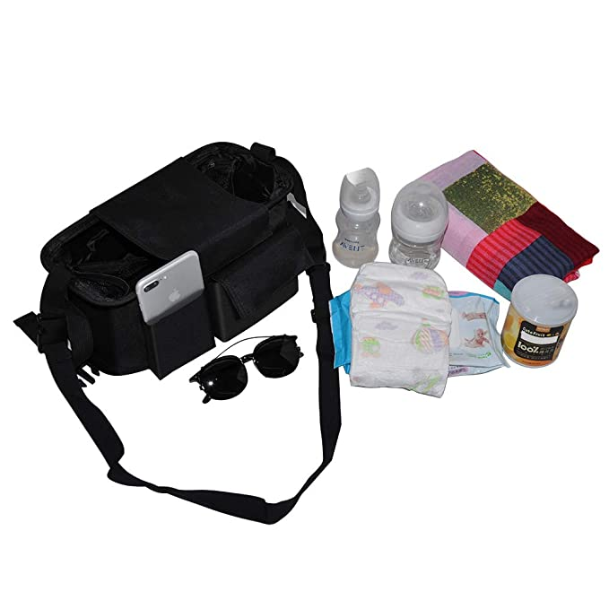 Baby Stroller Organizer Bag with Cup Holders,KYVIGOR Universal Baby Stroller Caddy with Multiple Pockets for Baby Bottles and Diapers Phone Wipes