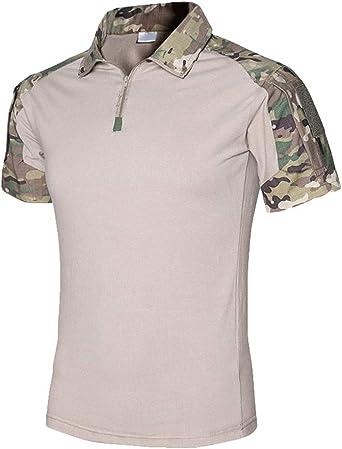 Kaiyei Hombre Camisas Tactica Militar, Slim Fit Manga Corta Solapa Botón Camuflaje Combate Camisetas con Cremallera Respirable Camping Caceria Bosque: Amazon.es: Ropa y accesorios
