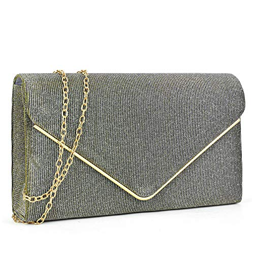 Women Glistening Clutches Handbags Evening Bags Wedding Purses Cocktail Prom Party Clutches (Grey)
