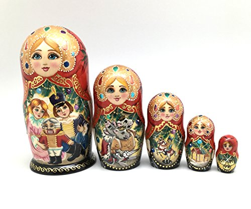 Nutcracker Russian Nesting doll Hand Painted 5 piece Fairy tale unique matryoshka art ()