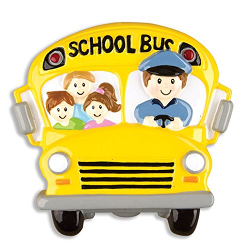 (Personalized School Bus Driver Christmas Tree Ornament 2019 - Best Brunette Blonde Male Drives Students Yellow Transit Child Love Brown Hair American First Worker Kid Gift Year - Free Customization)