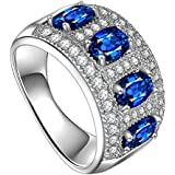 by lucky Luxury Women Oval Cut Blue Sapphire 925 Silver Ring Size 6-10 (7)