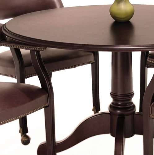 Traditional Round Conference Table and Chairs Set, Conference Meeting Office Room, Mahogany Finish (42'' with 4 Chairs, Burgundy Upholstery) by Office Pope (Image #6)