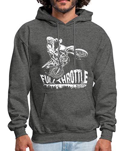 Spreadshirt Dirt Biker Full Throttle Motocross MX Men's Hoodie, XL, Charcoal Gray