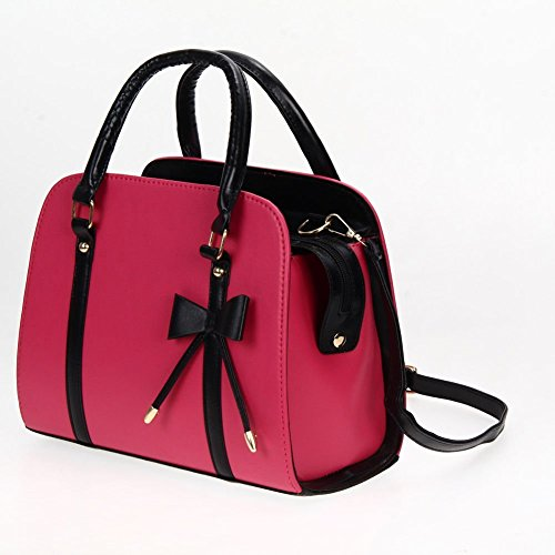 New FashionWomen Lady Large Leather Handbag Shoulder Shopping Bag Tote Messenger Bag , Can hold a A4-sized documents, books,a phone, a wallet, a cosmetic, etc. (Pink)