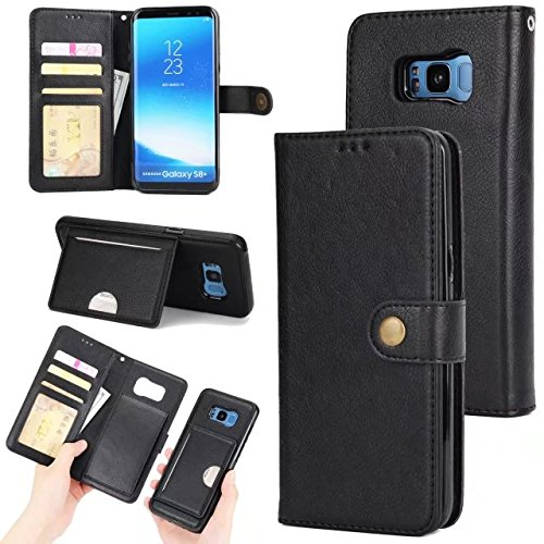 Shell Folio (Galaxy S8 Detachable Wallet Case,Zmiq [2 in 1][Cash Storage][Card Slots] PU Leather Protective Shell Removable Folio Flip Case For Samsung Galaxy S8 (S8 Black EHY))