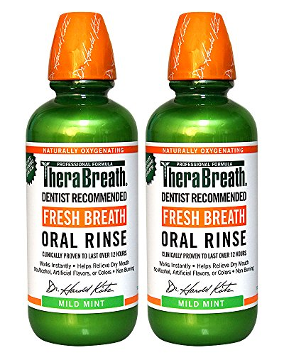 TheraBreath Стоматолог Рекомендуем свежее дыхание полосканий рта - Мягкий Mint Flavor, 16 унций (в упаковке 2)