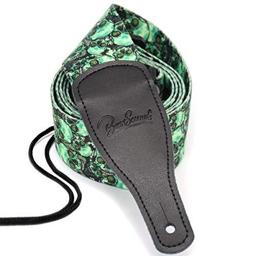 BestSounds Skull Guitar Strap & Genuine Leather Ends Guitar Shoulder Strap ,Suitable For Bass, Electric & Acoustic Guitars (Skull Green)