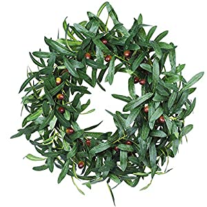 DearHouse Artificial Red Berry Wreath, Christmas Wreath Decorative Berry Fall Front Door Wreath 108