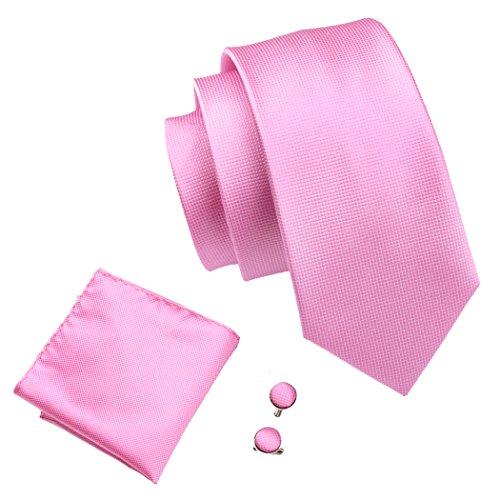 Sale Pink Ties - Pink Tie and Pocket Square Set Solid Tie Cufflinks Set Silk