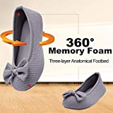 Wishcotton Women's Comfortable Memory Foam Ballerina Slippers Breathable Cotton House Indoor Shoes, Light Grey, 7/8 UK