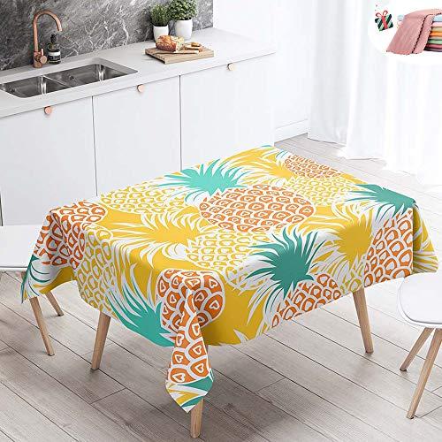 Manteles de Mesa Mantel, Morbuy Rectangular Impresion 3D Tropical Pina Impermeable Antimanchas Lavable Manteles para Cocina o Salon Comedor Decoracion del Hogar (Naranja Verano,140x160cm)