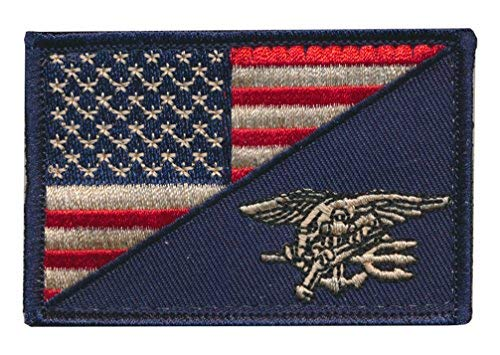 (Tactical USA Flag / Navy SEALs Team Navy Trident Embroidered Patch (Distress))