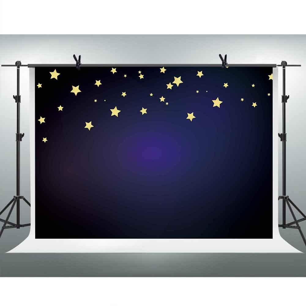 FHZON 10x7フィート ネイビーブルー 写真撮影用背景幕 ゴールドスター 背景テーマ パーティー壁紙 装飾 YouTube背景 写真ブース小道具 LSFH006   B07M6SC4JC
