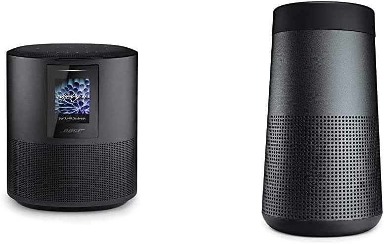 Bose Home Speaker 500 with Alexa Voice Control Built-in, Black & SoundLink Revolve, The Portable Bluetooth Speaker with 360 Wireless Surround Sound, Triple Black
