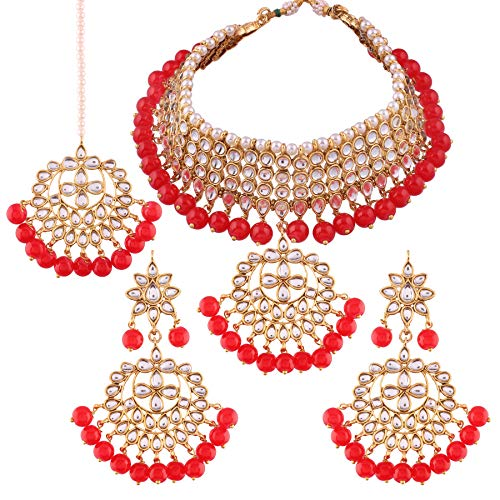 I Jewels Kundan & Pearl Choker Necklace Set for Women (K7058R)