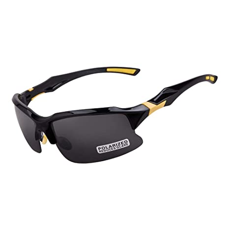 4f5a8dd1da8d POLARIZED Sports Sunglasses UV400 Protection Outdoor Cycling Glasses for  Climbing Fishing Driving (Black-Yellow