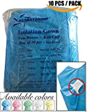 Dental Medical Latex Free Disposable Isolation Gowns Knit Cuff Non Woven | Fluid Resistant (10 Gowns/Pack, Blue)