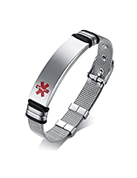 Free Engraving-Unisex Stainless Steel Mesh Band Adjustable Medical Alert ID Bracelets for Men Women