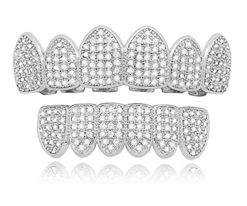 LuReen 14k Gold Silver Pave Full CZ Grillz 6 Top and Bottom Hip Hop Teeth Sets (Silver Set)