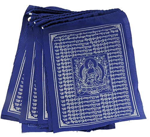 (Tibetan Prayer Flags Solid Blue Color Medicine Buddha Healing Prayer flags Flags)