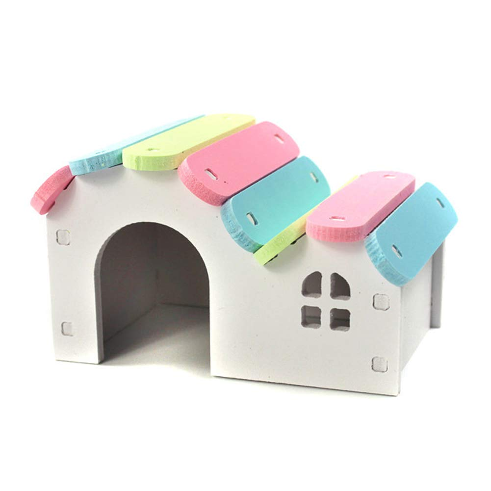 LSS Hamster House, Wooden Pet Cabin, Small Animal Hideout, Deluxe Hamsters Villa Creative Hut 2 Packs