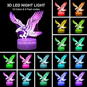 Eagles Remote Control Night Lights 3D Optical Illusion 16 Colors LED Lamps Animals Lovers Home Bedroom Decor Birthday Party Gifts Art Deco Choices for Boys Kids Babes Friends Fathers(Eagle(Remote))
