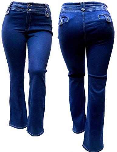 Jack David Pasion Womens Plus Size Curvy Stretch Relaxed Fit Flap Pocket Straight Leg/Bootcut Denim Jeans Pants