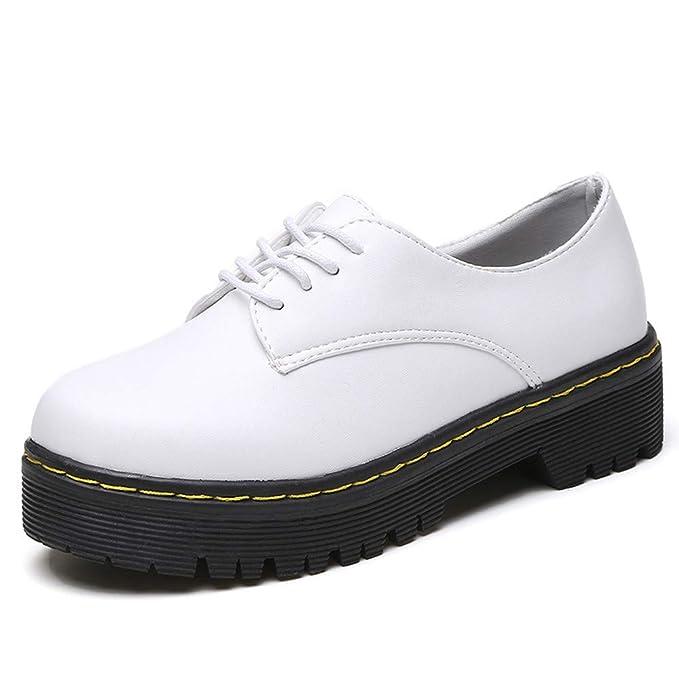 POLP Botas Mujer Invierno Botines y Botas Altas Mujer Botas de Plataforma Botines con Cordones Estudiante Botas de Mujer Casual Zapatos señora Invierno ...