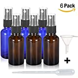 Olilia 1 oz Glass Spray Bottles with Black Fine Mist Sprayer Pack of 6, Mini Funnel and Transfer Pipettes included (Mixed Color)
