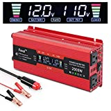 IpowerBingo 1000W/2000W Power Inverter Dual AC Outlets and Dual USB Charging Ports DC 12V to 110V AC Car Converter with Digital Display