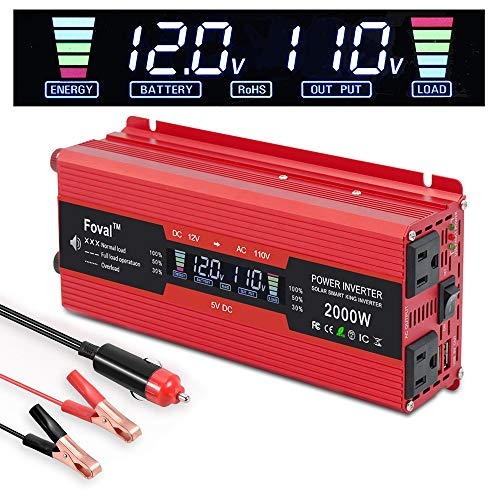 IpowerBingo 1000W/2000W Power Inverter Dual AC Outlets and Dual USB Charging Ports DC 12V to 110V AC Car Converter with Digital Display ()