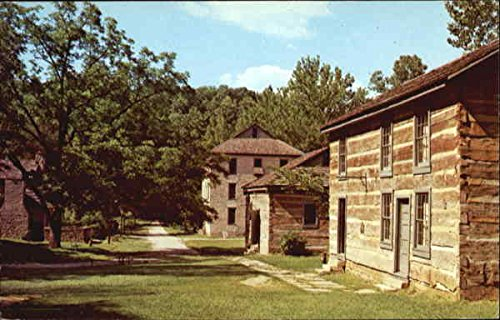 Pioneer Village Scene, Spring Mill State Park Mitchell, Indiana Original Vintage Postcard