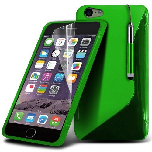 Apple iPhone 6S S-Line Wave Gel Case Cover (Green) Plus Free Gift, Screen Protector and a Stylus Pen, Order Now Best Valued Phone Case on Amazon! By FinestPhoneCases