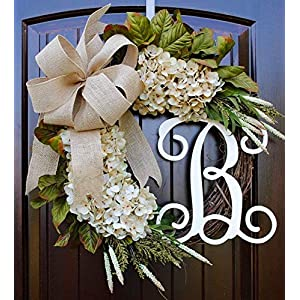 Hydrangea Monogram Initial Wreath with Choice of Bow and Cream Hydrangeas on Grapevine Base-Farmhouse Style Made in America 9