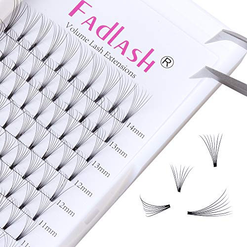 Volume Lash Extensions Premade 7D C Curl 0.10mm One Size Per Tray 13mm | 15mm (15mm) by FADLASH
