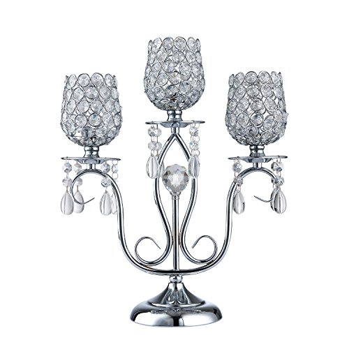 (Thaiconsistent Silver candelabra centerpiece 3 arm candle holder crystal for Wedding Birthday Festival Housewarming Coffee Candlelit Banquet Dining Table Fireplace Wall Candlestick)