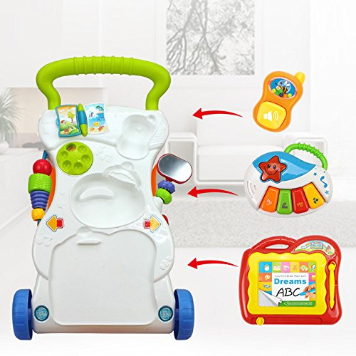 Toy, Play, Game, Huanger Baby stroller Sit&Stand Learning Walker Multifunction Outdoor Toy Ride On Car Stokke/Baby Carriage with Wheel Kid Gift, Kids, Children by Game Toys #11 (Image #4)