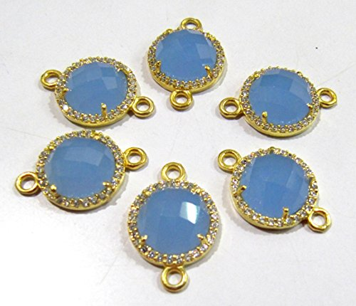 Blue Chalcedony Round Briolette Connectors With Pave CZ Gold Plated / Double Loop Size 13 mm Faceted Gemstone Pendant / Pave Link Connectors