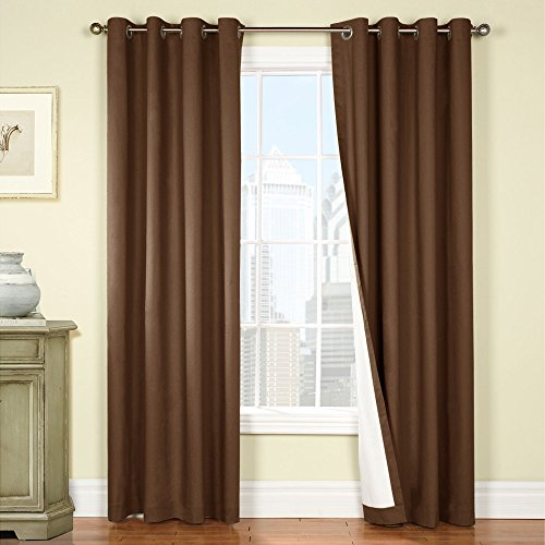 jinchan Insulated Lined Blackout Curtain panels / Drapes for Bedroom / Living Room, Energy Efficient, Thermal Backed, (One Panel, 50