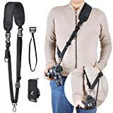 Professional Camera Shoulder Strap with Quick Release and Safety Tether for Men Women for DSLR Canon Nikon Sony (Black)
